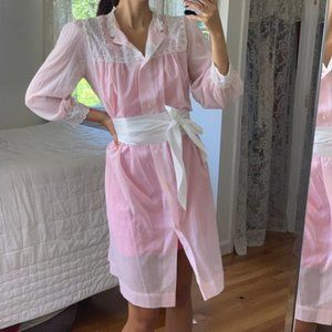 Vintage Dior Sheer Pink Lace Button Up Dress